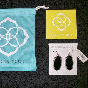 Kendra Scott Onyx & Silver Danielle Earrings, NWT